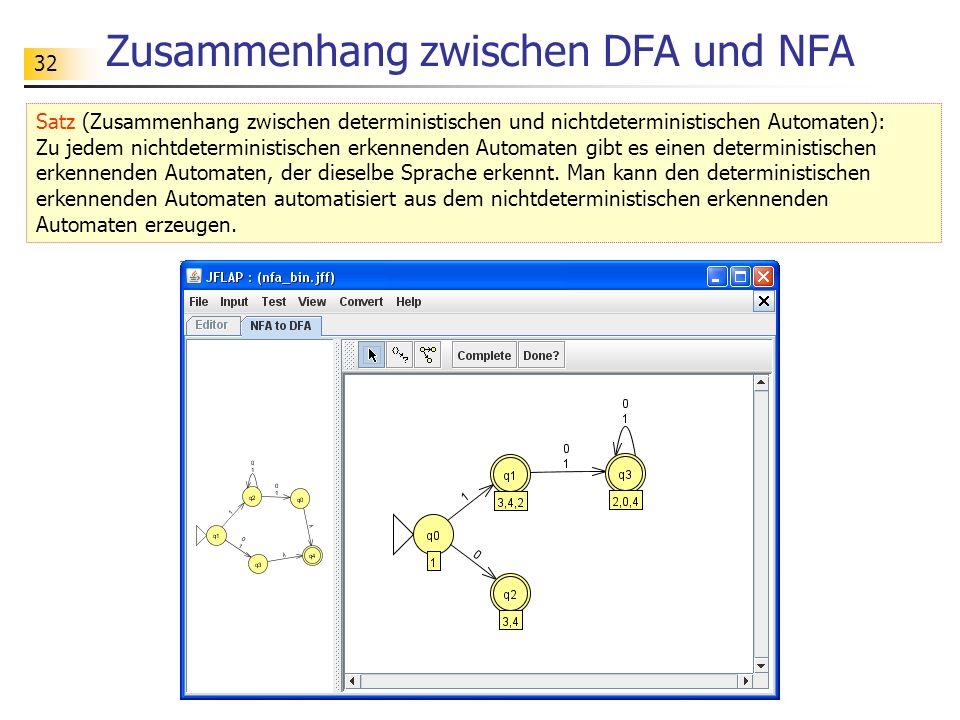 Zusammenhang zwischen DFA und NFA