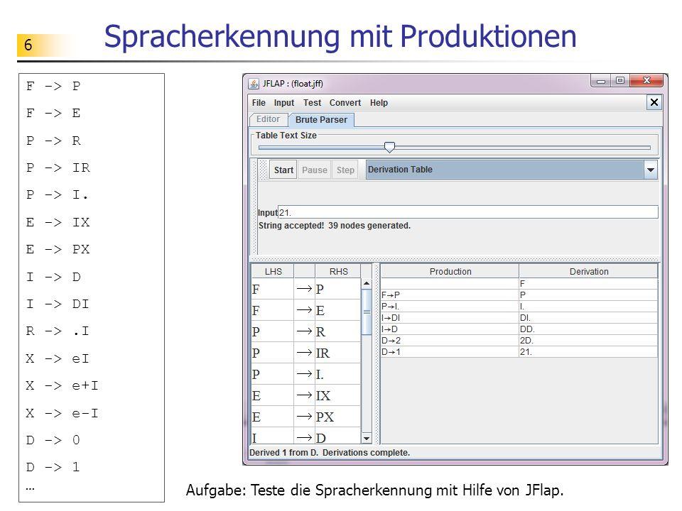 Spracherkennung mit Produktionen