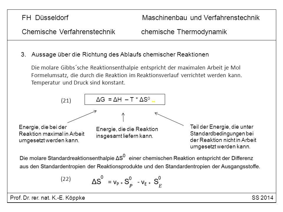 Chemische Verfahrenstechnik chemische Thermodynamik FH Düsseldorf