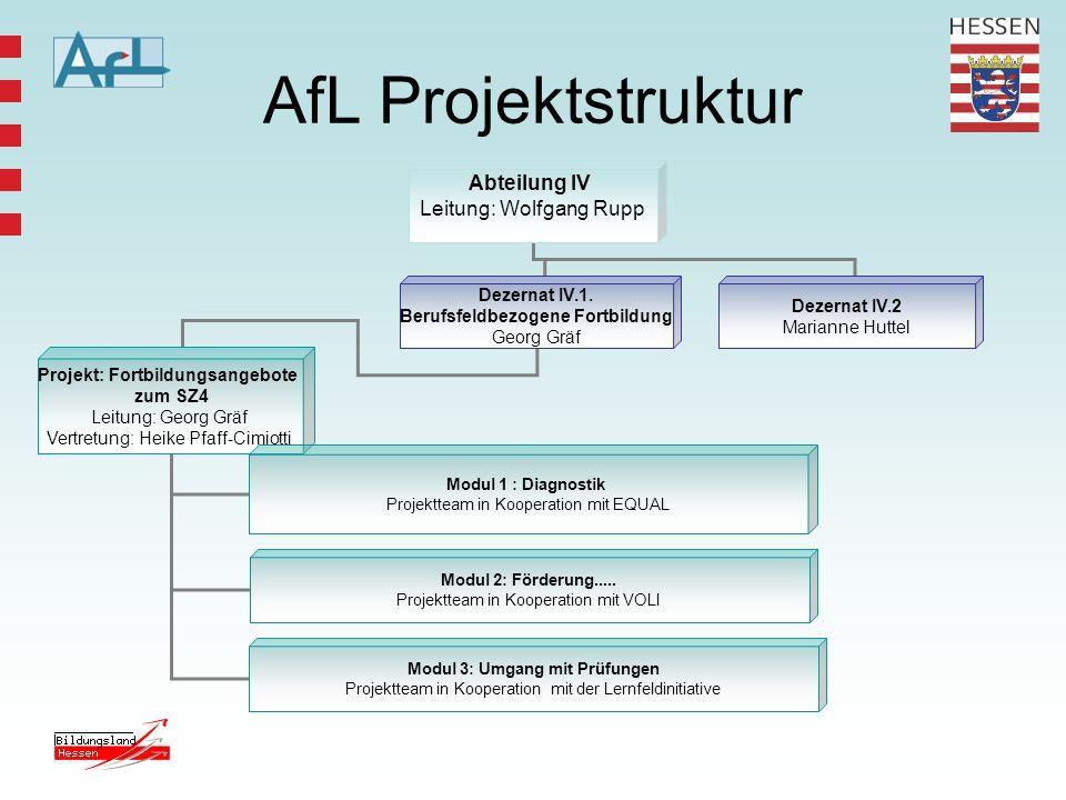 AfL Projektstruktur Abteilung IV Leitung: Wolfgang Rupp Dezernat IV.1.