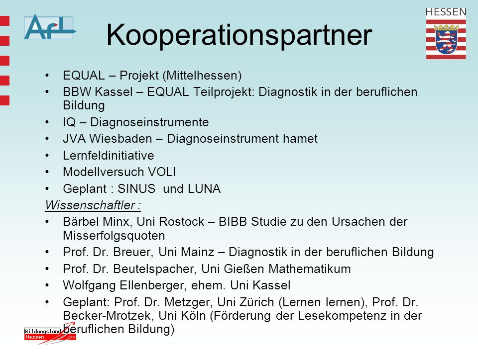 Kooperationspartner EQUAL – Projekt (Mittelhessen)
