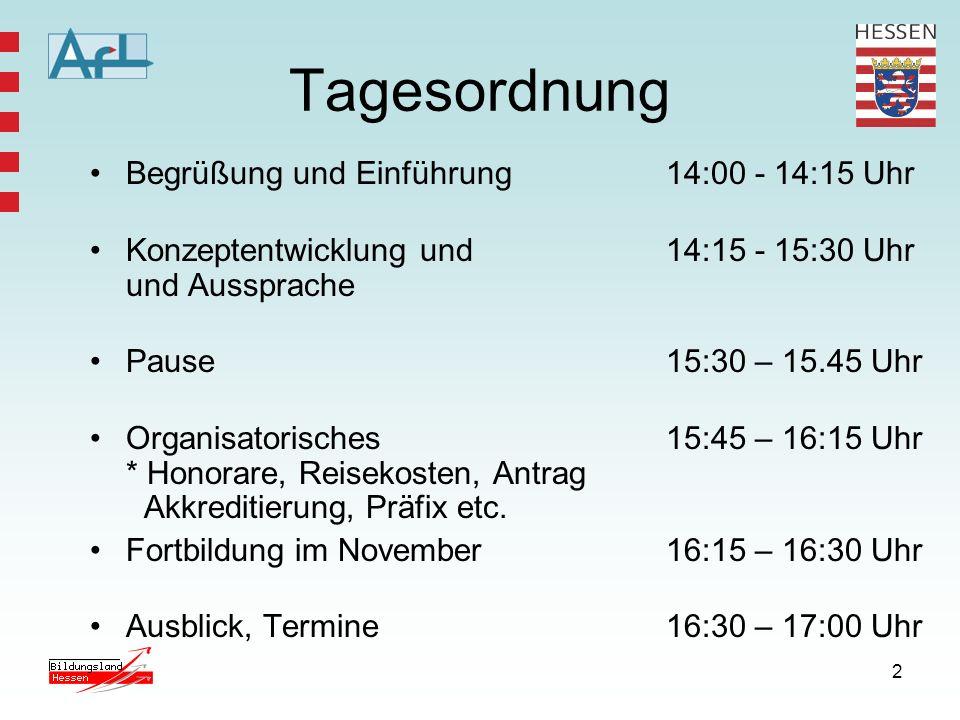 Tagesordnung Begrüßung und Einführung 14:00 - 14:15 Uhr