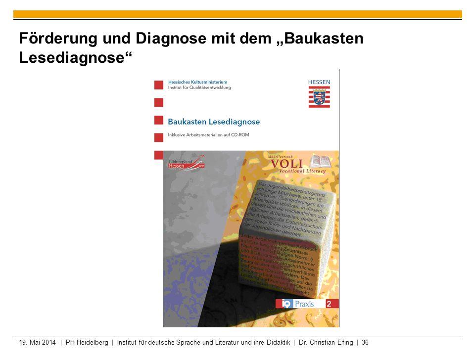 "Förderung und Diagnose mit dem ""Baukasten Lesediagnose"