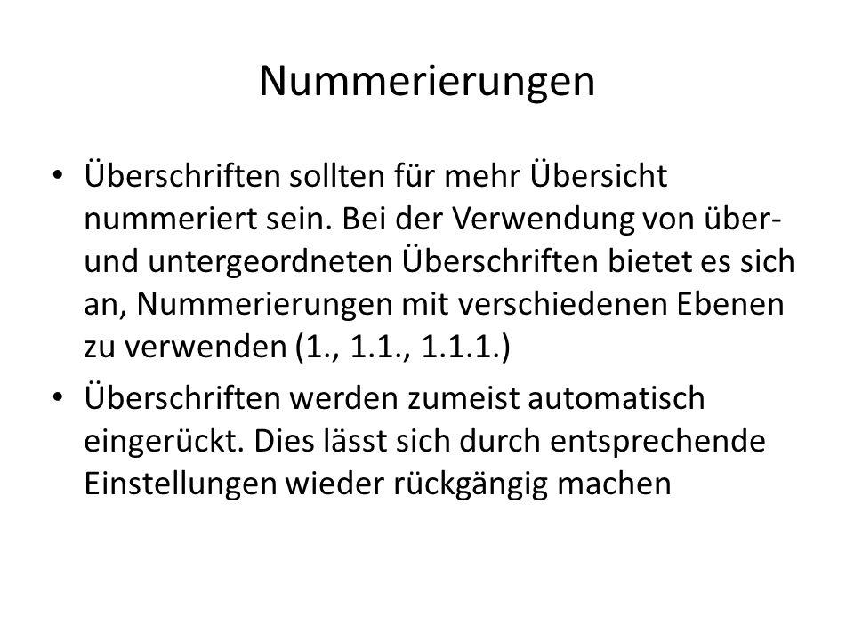 Nummerierungen