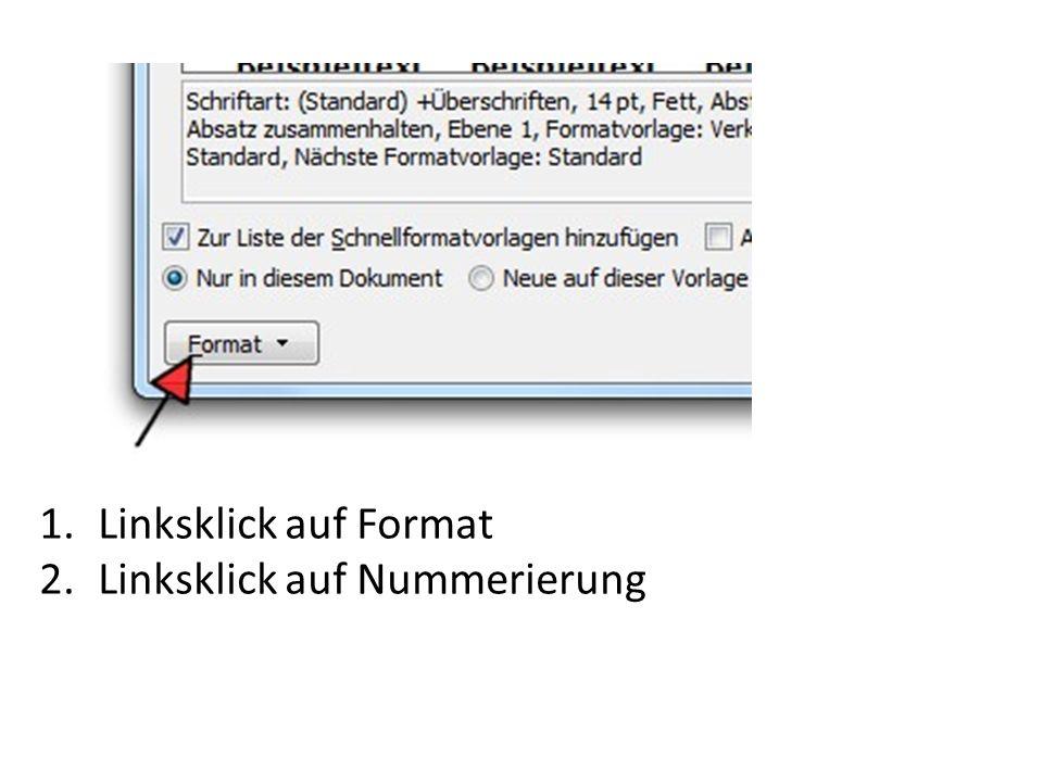 Linksklick auf Format Linksklick auf Nummerierung