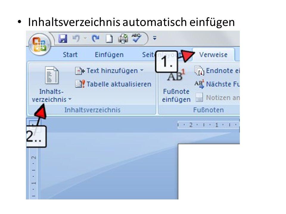 Inhaltsverzeichnis automatisch einfügen