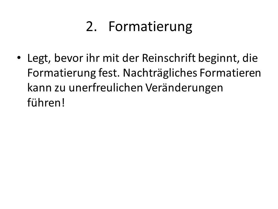 Formatierung
