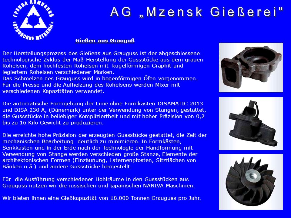 """AG """"Mzensk Gießerei Gießen aus Grauguß"""