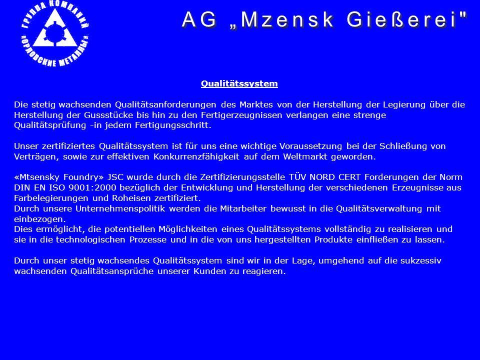 """AG """"Mzensk Gießerei Qualitätssystem"""