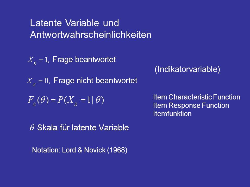 Latente Variable und Antwortwahrscheinlichkeiten