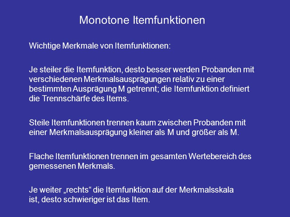 Monotone Itemfunktionen