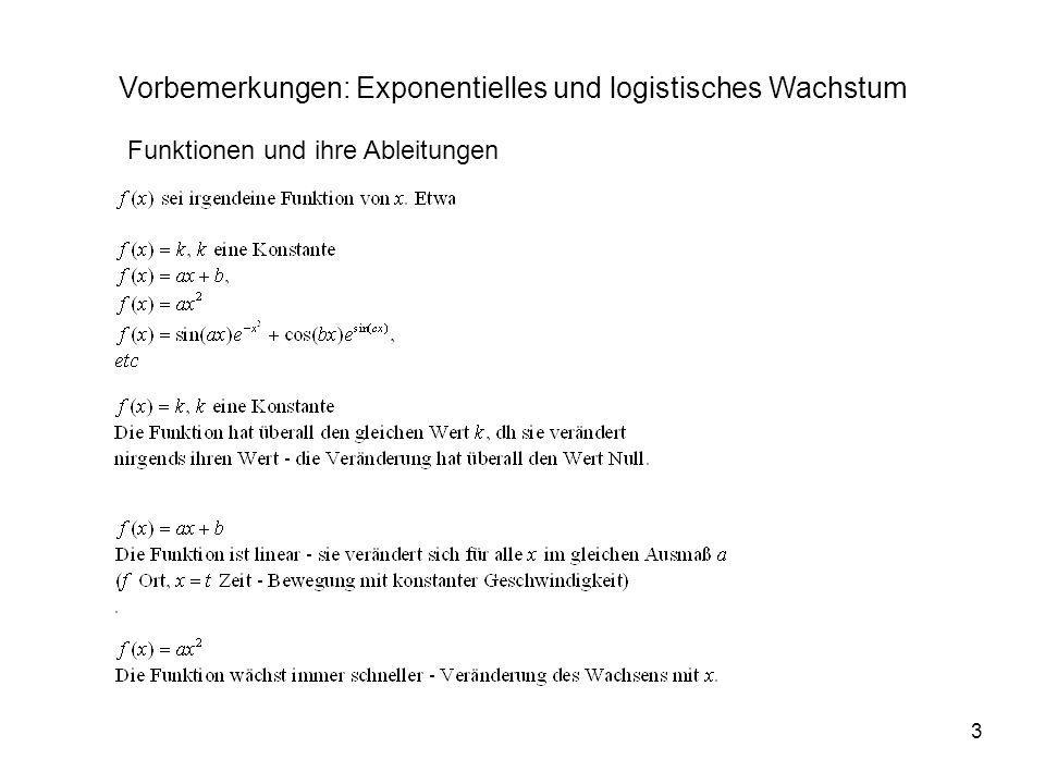 Vorbemerkungen: Exponentielles und logistisches Wachstum