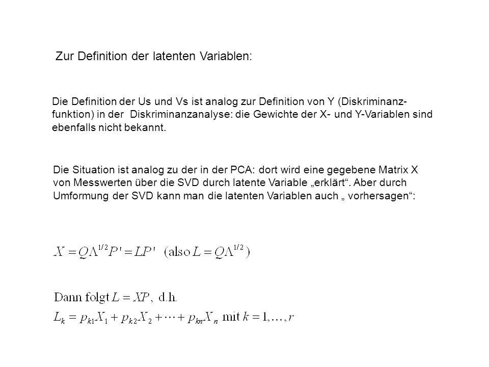 Zur Definition der latenten Variablen: