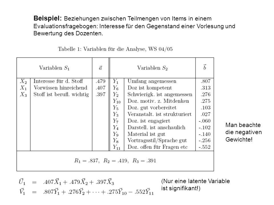 Beispiel: Beziehungen zwischen Teilmengen von Items in einem Evaluationsfragebogen: Interesse für den Gegenstand einer Vorlesung und Bewertung des Dozenten.