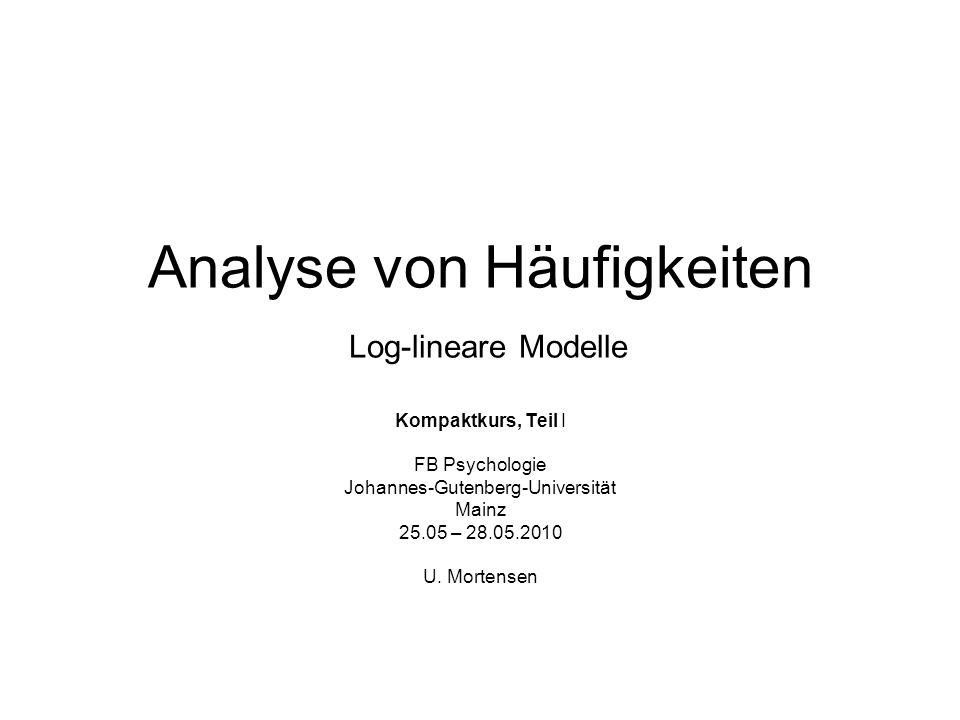 Analyse von Häufigkeiten Log-lineare Modelle