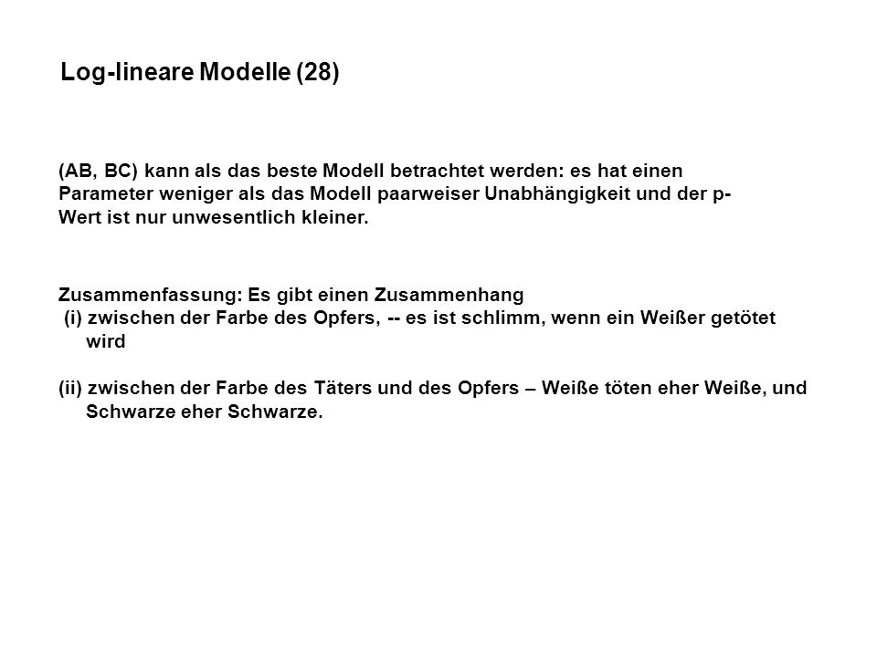 Log-lineare Modelle (28)