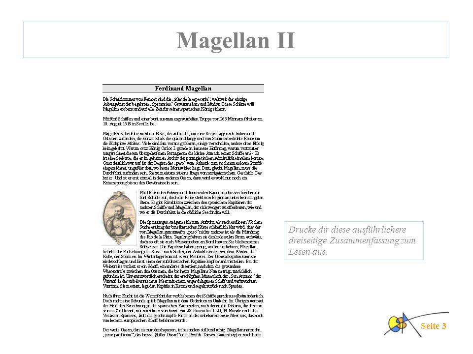 Magellan II Drucke dir diese ausführlichere dreiseitige Zusammenfassung zum Lesen aus. Seite 3