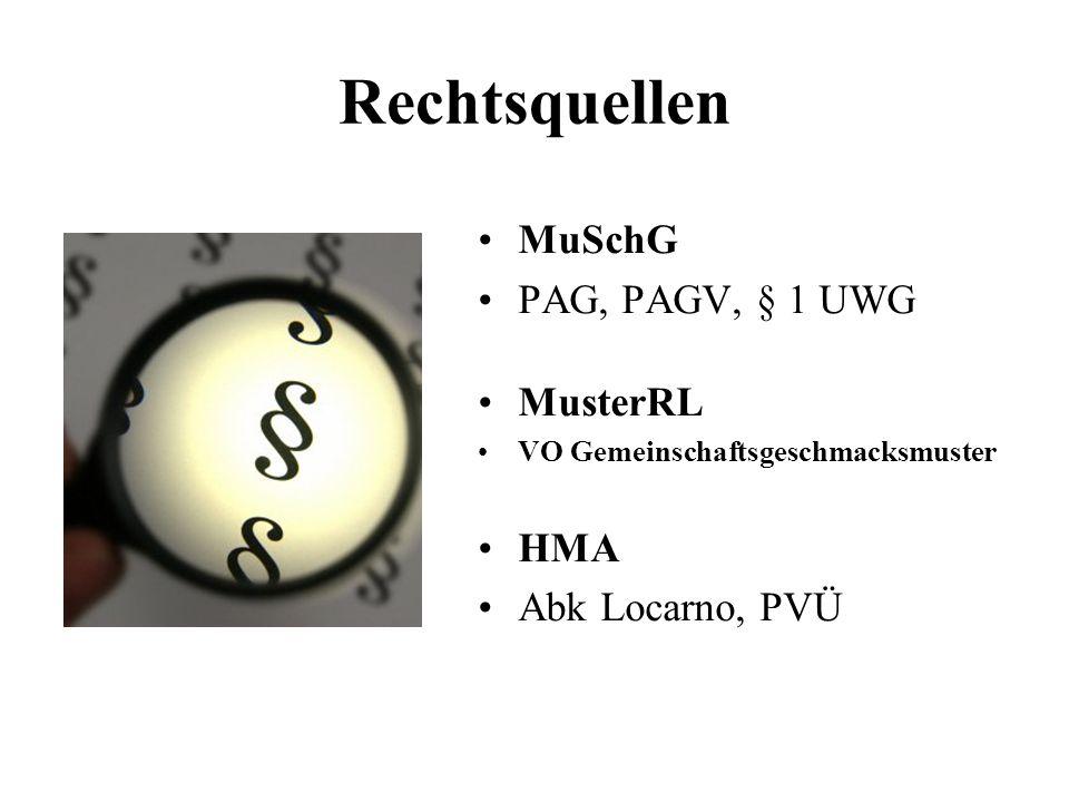 Rechtsquellen MuSchG PAG, PAGV, § 1 UWG MusterRL HMA Abk Locarno, PVÜ