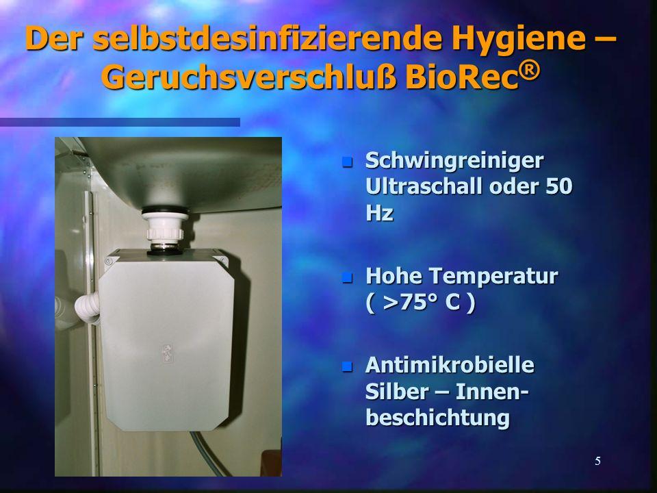Der selbstdesinfizierende Hygiene – Geruchsverschluß BioRec®