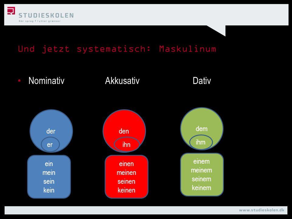 Und jetzt systematisch: Maskulinum