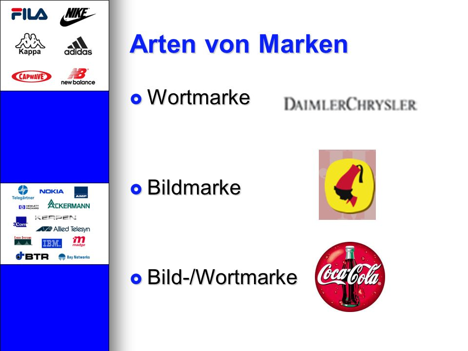 Arten von Marken Wortmarke Bildmarke Bild-/Wortmarke
