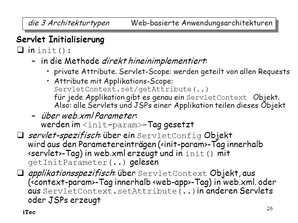 Servlet Initialisierung in init():
