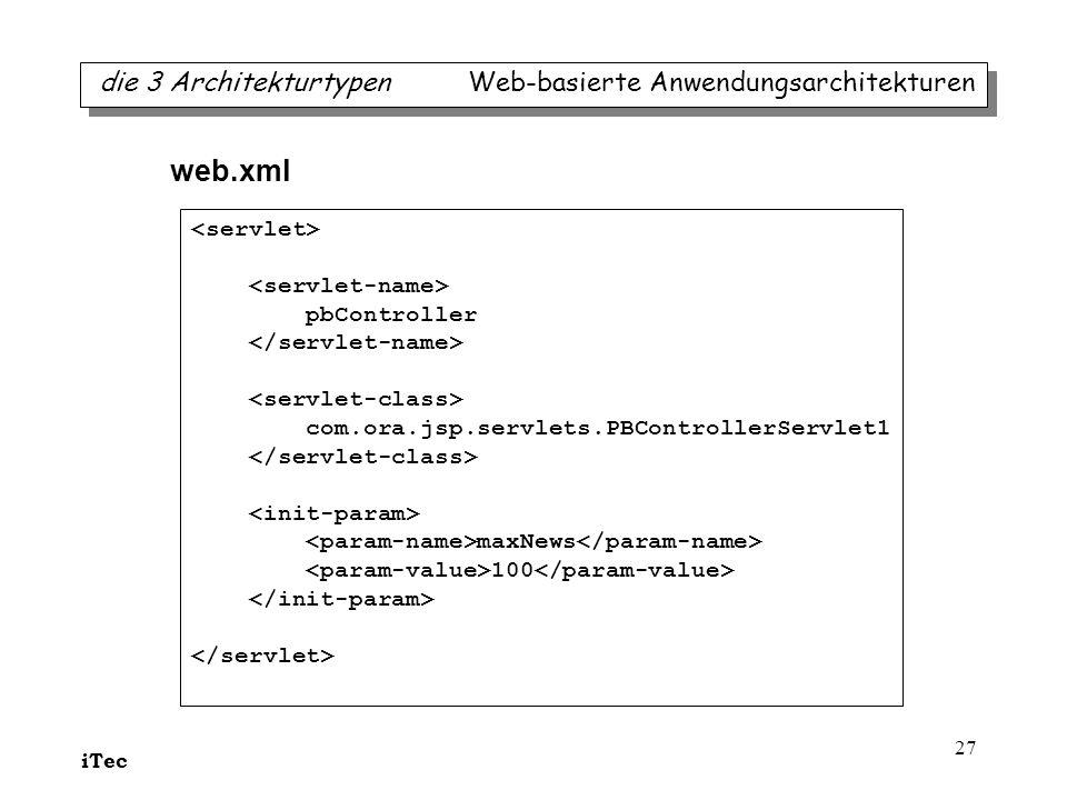 web.xml die 3 Architekturtypen Web-basierte Anwendungsarchitekturen