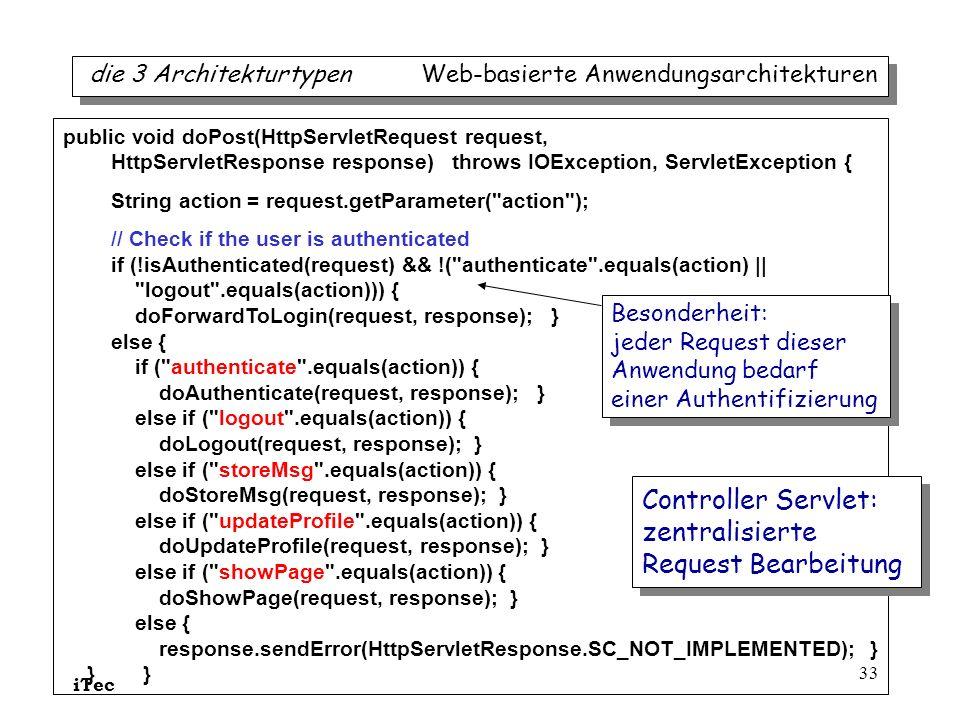 Controller Servlet: zentralisierte Request Bearbeitung