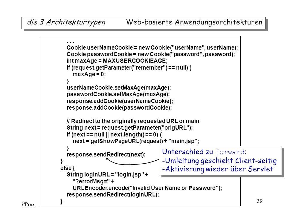 die 3 Architekturtypen Web-basierte Anwendungsarchitekturen