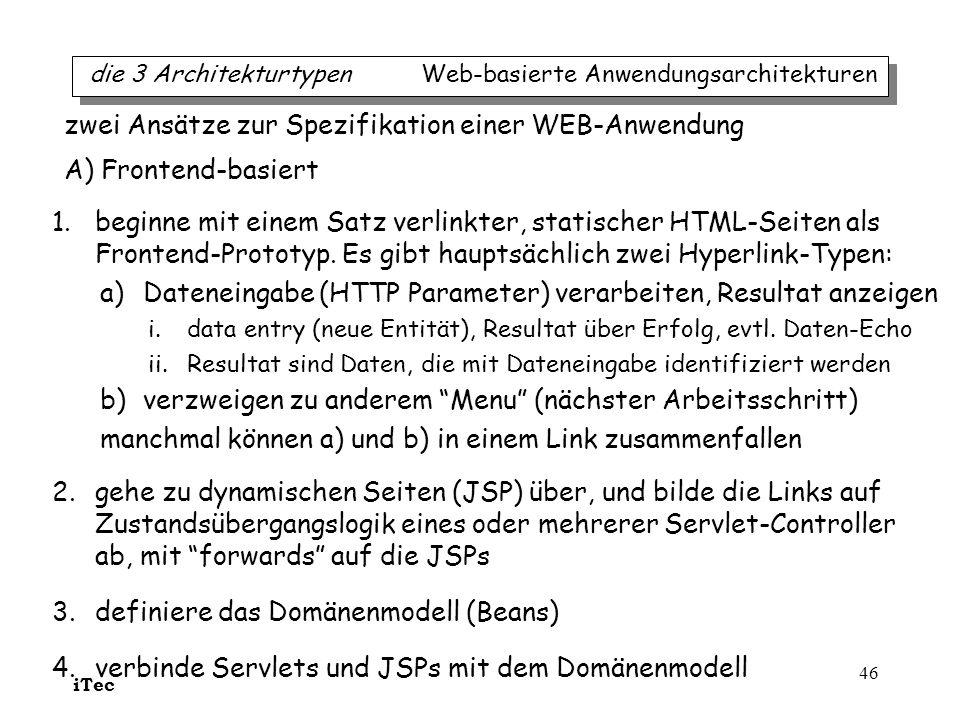 zwei Ansätze zur Spezifikation einer WEB-Anwendung A) Frontend-basiert