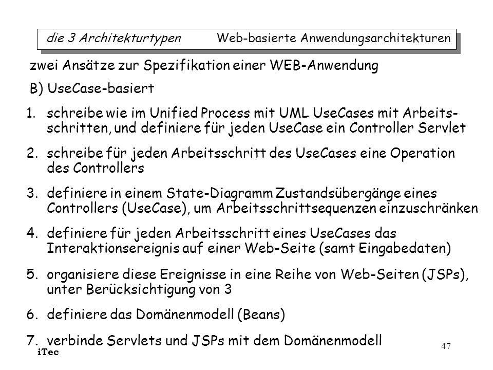 zwei Ansätze zur Spezifikation einer WEB-Anwendung B) UseCase-basiert