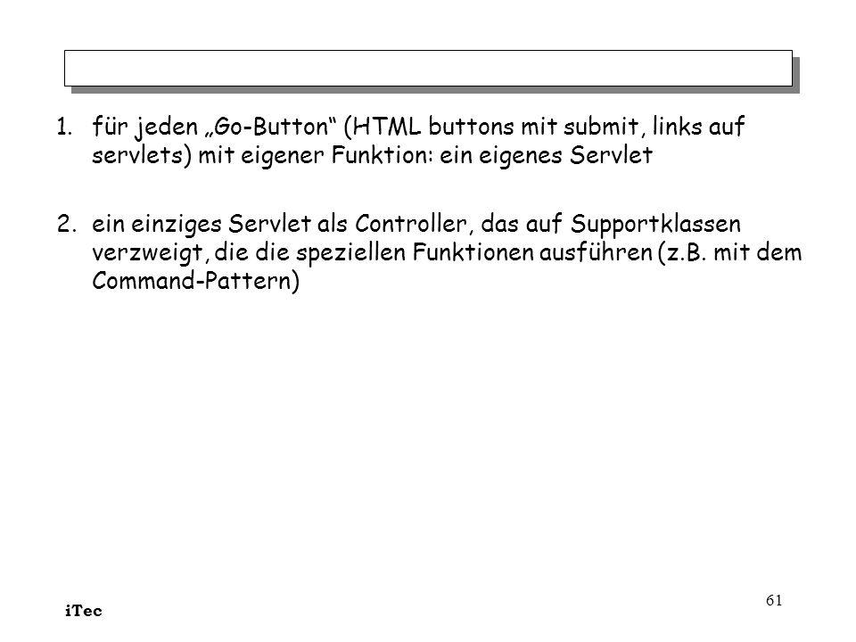 """für jeden """"Go-Button (HTML buttons mit submit, links auf servlets) mit eigener Funktion: ein eigenes Servlet"""