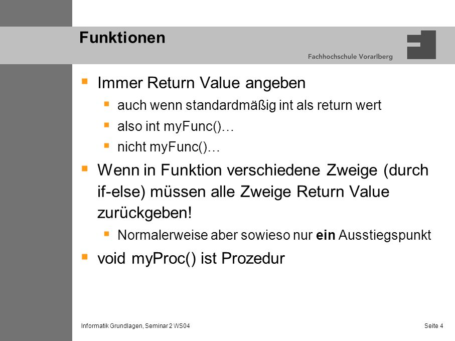 Immer Return Value angeben