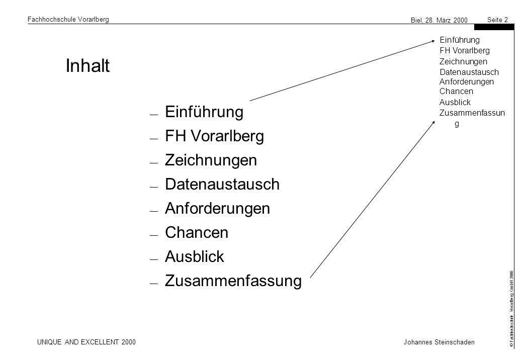 Inhalt Einführung FH Vorarlberg Zeichnungen Datenaustausch