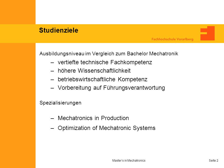 Master's in Mechatronics