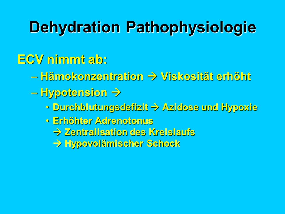 Dehydration Pathophysiologie