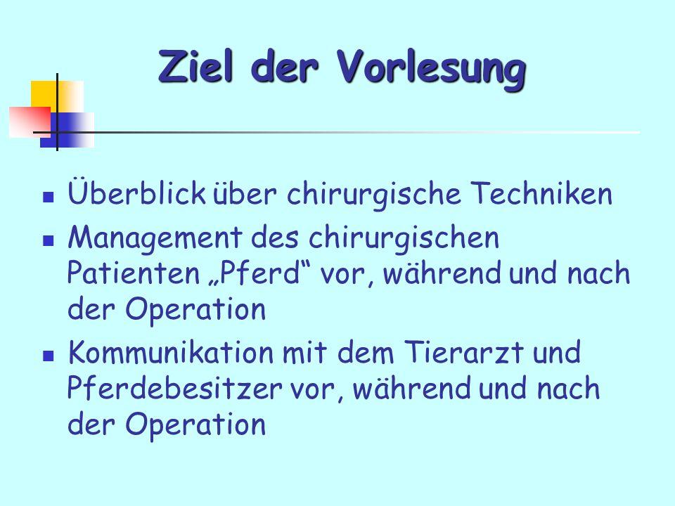 Ziel der Vorlesung Überblick über chirurgische Techniken