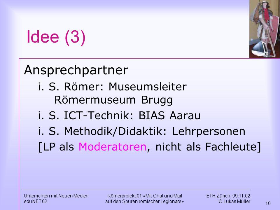 Idee (3) Ansprechpartner i. S. Römer: Museumsleiter Römermuseum Brugg
