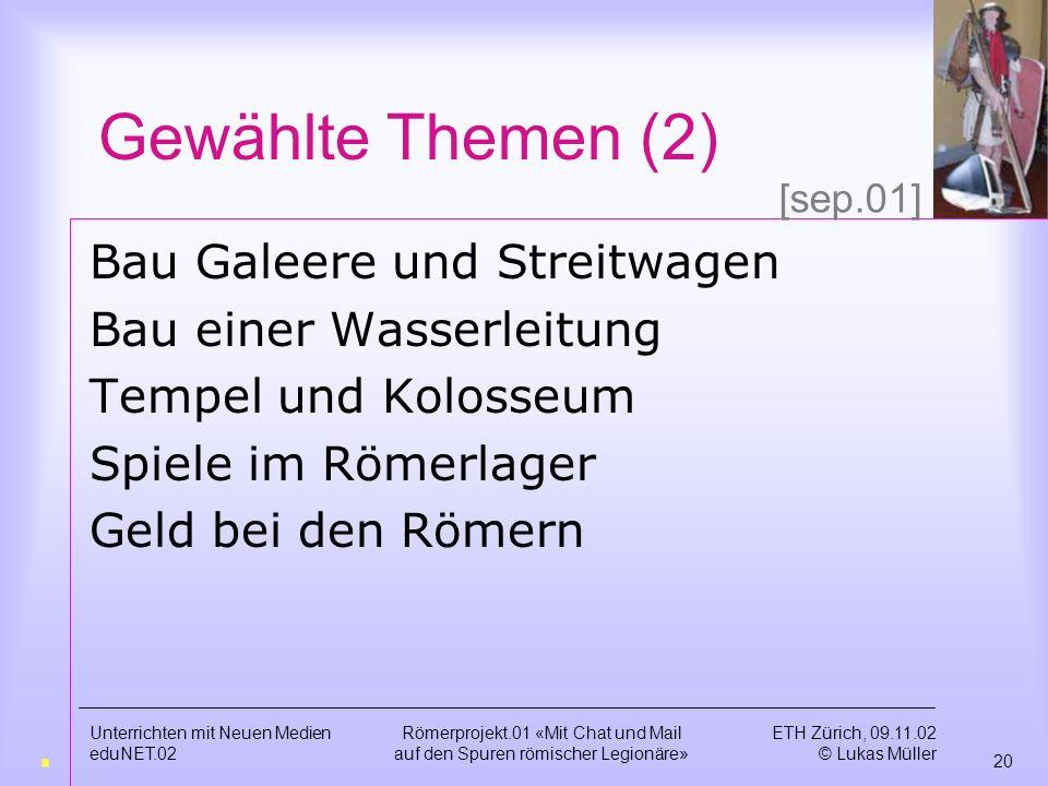 Gewählte Themen (2) . Bau Galeere und Streitwagen