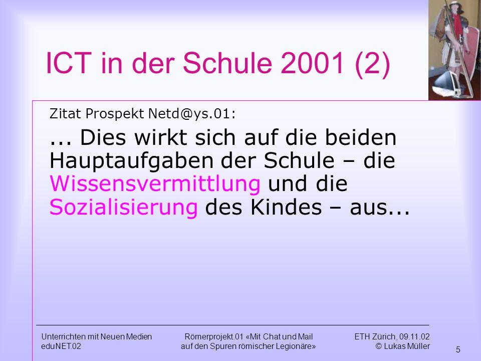 ICT in der Schule 2001 (2) Zitat Prospekt Netd@ys.01: