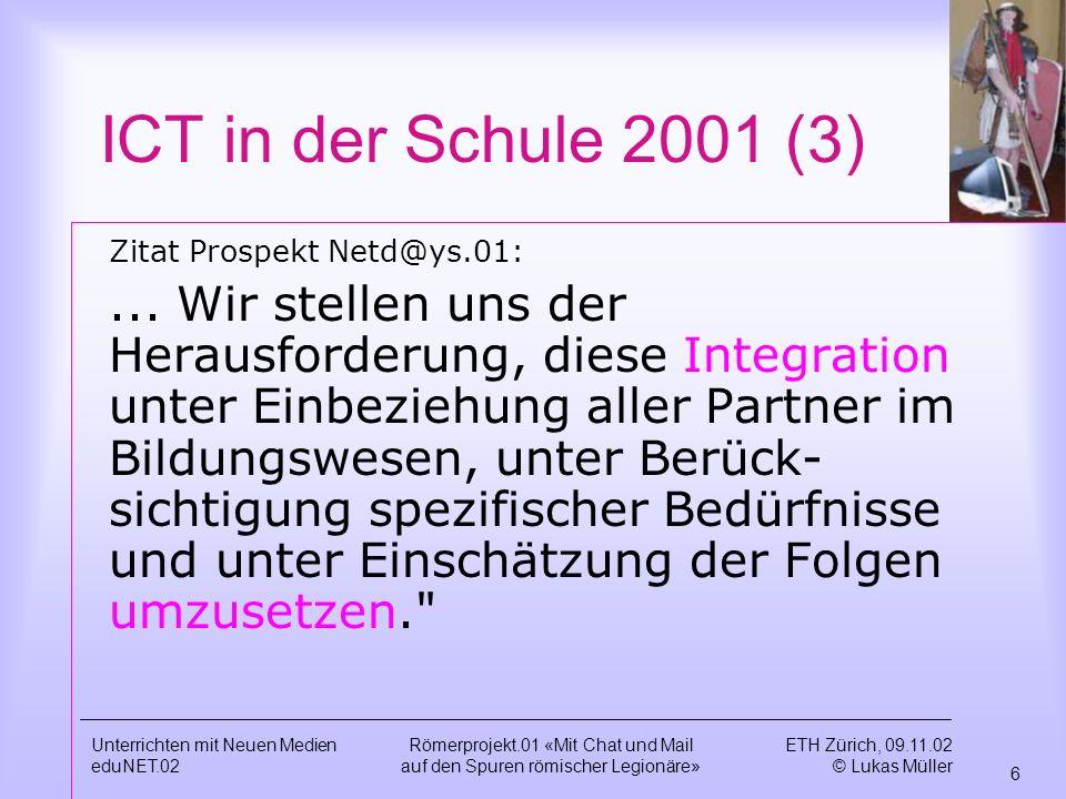 ICT in der Schule 2001 (3) Zitat Prospekt Netd@ys.01: