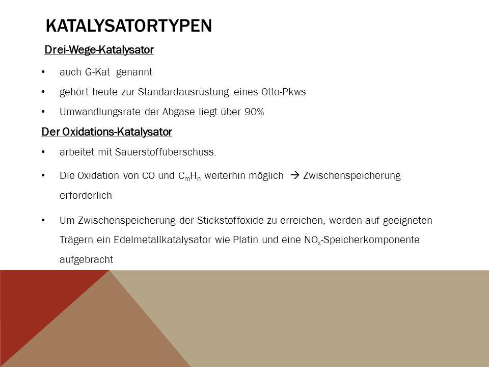 Katalysatortypen Drei-Wege-Katalysator Der Oxidations-Katalysator