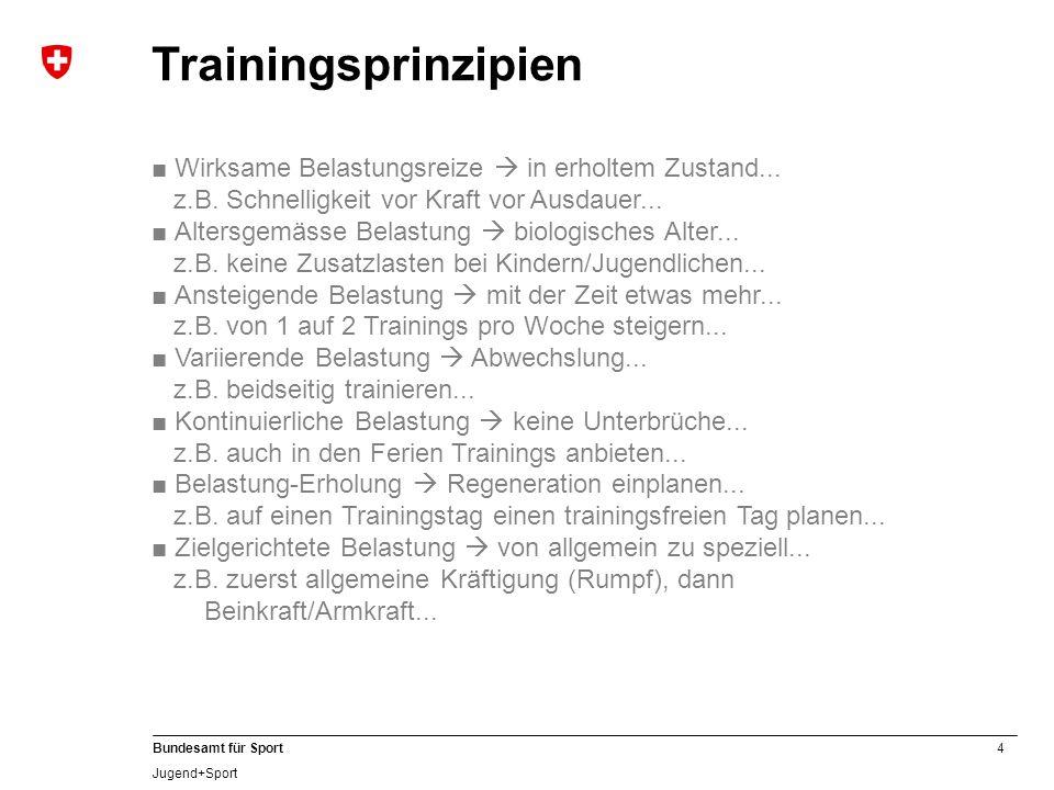 Trainingsprinzipien ■ Wirksame Belastungsreize  in erholtem Zustand... z.B. Schnelligkeit vor Kraft vor Ausdauer...