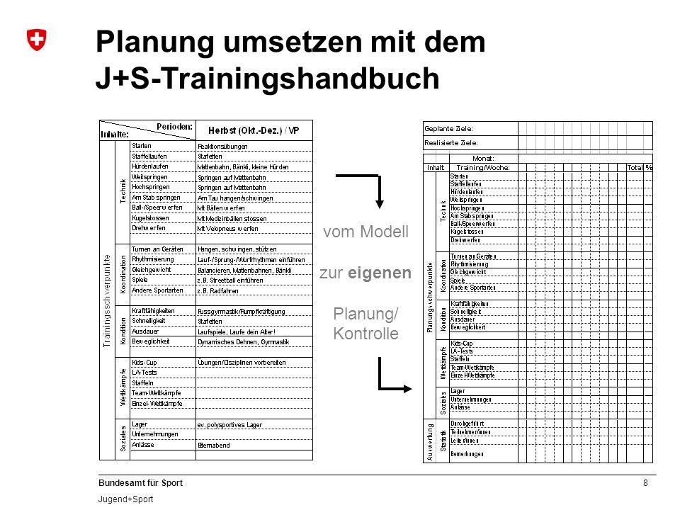Planung umsetzen mit dem J+S-Trainingshandbuch