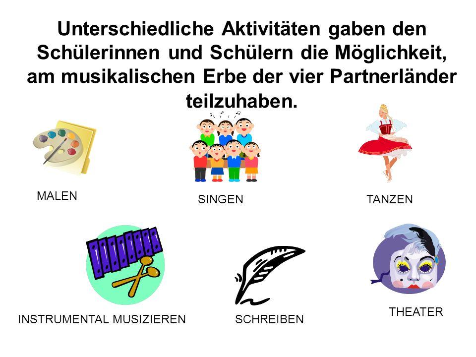 Unterschiedliche Aktivitäten gaben den Schülerinnen und Schülern die Möglichkeit, am musikalischen Erbe der vier Partnerländer teilzuhaben.