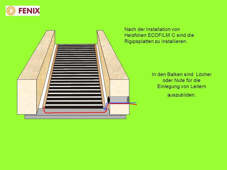 Nach der Installation von Heizfolien ECOFILM C sind die Rigipsplatten zu installieren.
