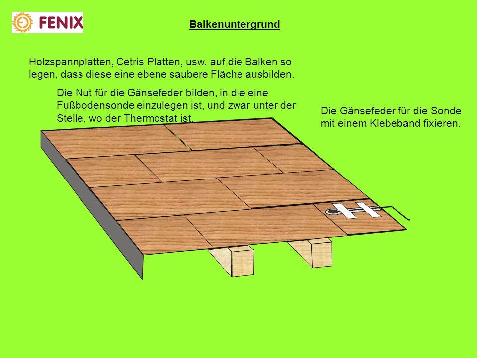 Balkenuntergrund Holzspannplatten, Cetris Platten, usw. auf die Balken so legen, dass diese eine ebene saubere Fläche ausbilden.