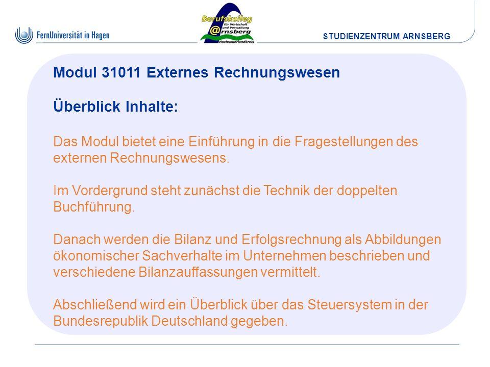 Modul 31011 Externes Rechnungswesen Überblick Inhalte: