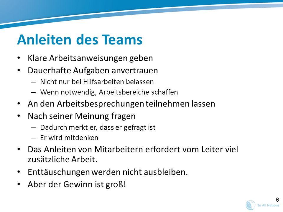 Anleiten des Teams Klare Arbeitsanweisungen geben