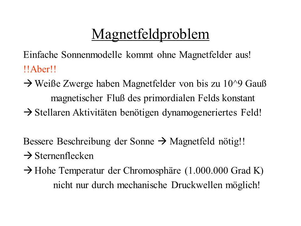 Magnetfeldproblem Einfache Sonnenmodelle kommt ohne Magnetfelder aus!